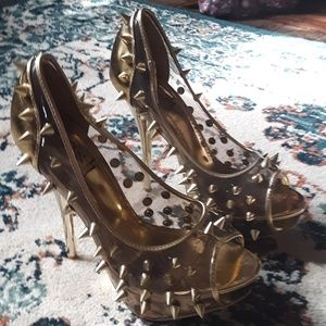 Posh Gold Clear Spike Peep Toe Heels